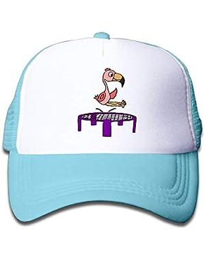 Pink Flamingo Bird On Trampoline On Kids Trucker Hat, Youth Toddler Mesh Hats Baseball Cap