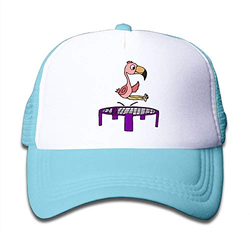 Price comparison product image Pink Flamingo Bird On Trampoline On Children's Trucker Hat,  Youth Toddler Mesh Hats Baseball Cap