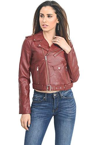 (Instar Mode InstarMode Women's Ultimate Faux Leather Moto Biker Short Coat Jacket (JK50713 Burgundy, Medium))