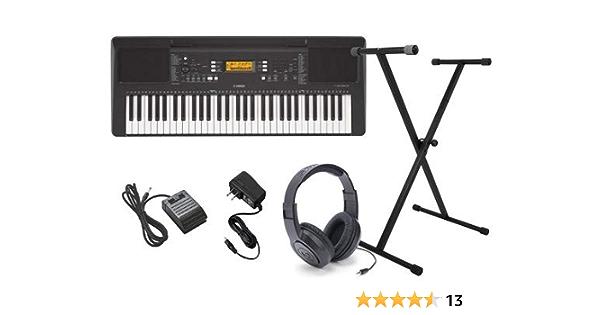 Yamaha PSR-E363 Paquete de teclado con auriculares, soporte, pedal de sostenido, y fuente de alimentación