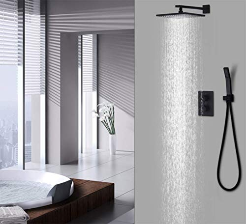 WANNA.ME Shower System Black Rain Shower Set Bathroom Thermostatic Mixer Wall Mount 10