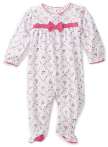 ABSORBA Baby-Girls Newborn Bow Front Footie