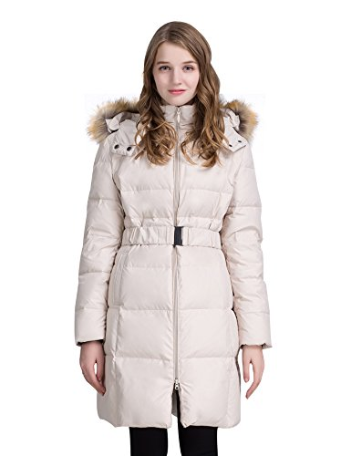 ADOMI Women's Belted Long Down Jacket With Faux-Fur-Trimmed Hood Beige L