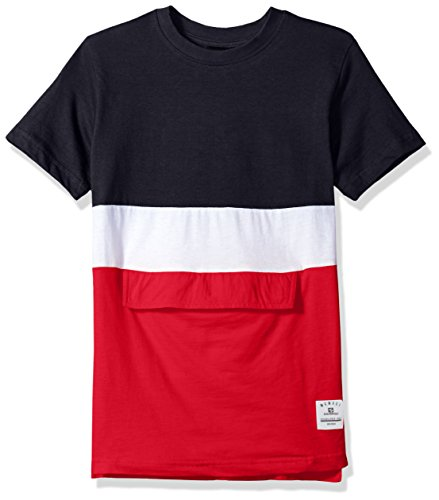Southpole Big Boys' Colorblock Short Sleeve Fashion Tee (Age 8-20), Navy(Anorak), Medium