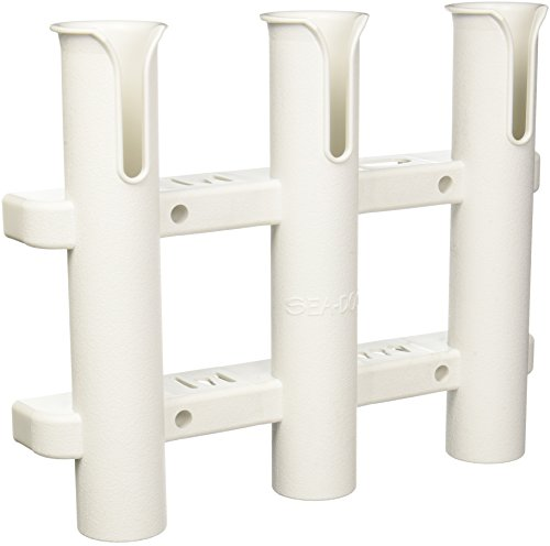 (Sea Dog 325038-1 Three Pole Side-Mount Rod Holder, White)