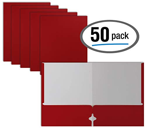 (Two Pocket Portfolio Folders, 50-Pack, RED, Letter Size Paper Folders, by Better Office Products, 50 Pieces,)