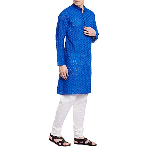 Mens Embroidered Cutwork Cotton Kurta With Churidar Pajama Trousers Machine Embroidery,Blue Chest Size: 46 Inch by ShalinIndia (Image #3)