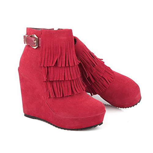 Imitated Women's Suede Solid Toe WeenFashion Round Red Zipper Closed Boots Heels High qTwFxnZCE