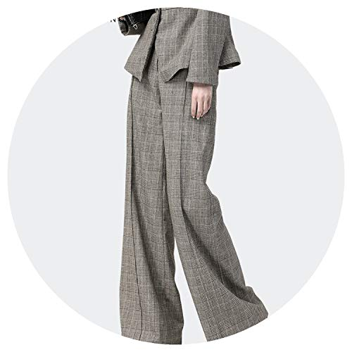(Women High Waist Pants Trousers Plaid Wide Leg Pants Winter Warm Wool Loose-Fitting Pants,Plaid,4XL)
