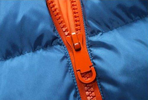 Elonglin Homme Epais Blouson Ouaté Vest Léger à Capuche d'Hiver Bleu-Orange FR L (Asie 3XL)
