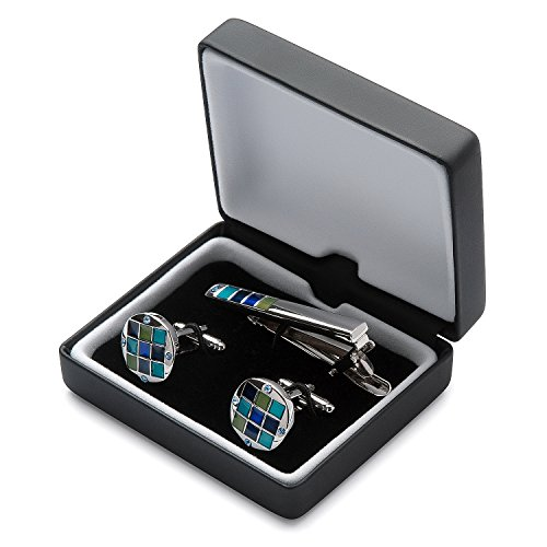 Men's Silver Polished Cufflink and Tie Clip Set in Gift ...