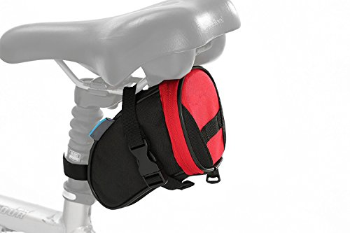 Kleine Fahrrad-Satteltasche, Rennrad Fahrradtasche, einfache Befestigung unter dem Sattel (Rot)