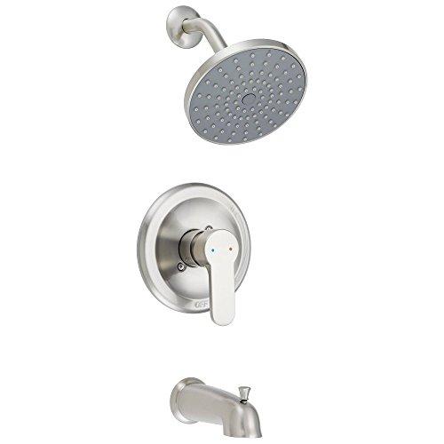 (Designers Impressions 615717 Satin Nickel Tub Shower Combo Faucet - Single Handle Design -)