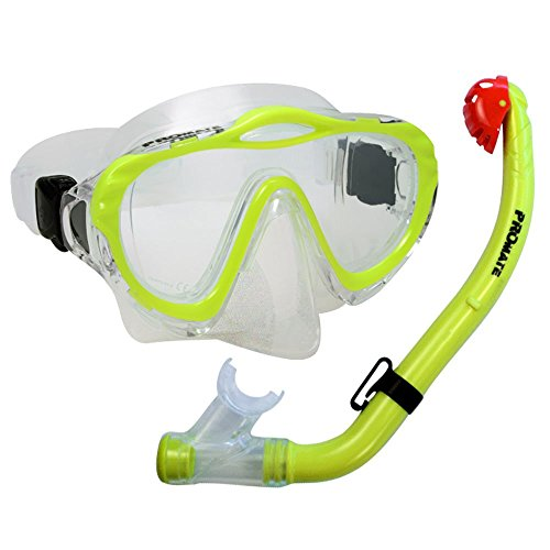 PROMATE Junior Snorkeling Scuba Diving Mask DRY Snorkel Set for kids, Yellow, Mask&Snorkel only -