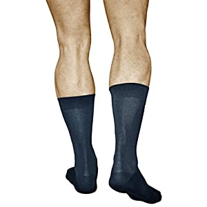 3 Pairs Men's Best Cotton Socks, Business Dress Quality Durable, Mercerized Fiber, Vitsocks Classic, 12-13, navy blue