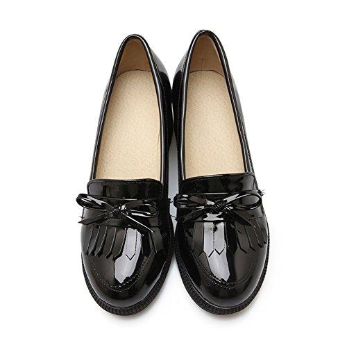 Lucksender Womens Patent Leather Round Toe Kitten Heel Shoes with Tassels Black KoqAggKP