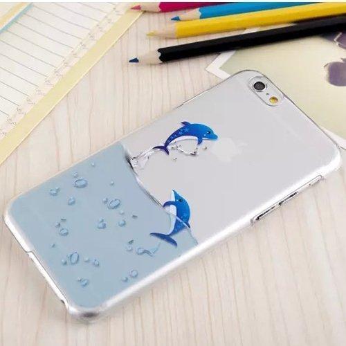 iPhone SE 5 / 5S Cover , IJIA Transparent Bleu Mer Eau Dolphin Soft TPU Doux Silicone Bumper Case Housse Etui Coque Pour Apple iPhone SE 5 / 5S + 24K Or Autocollant