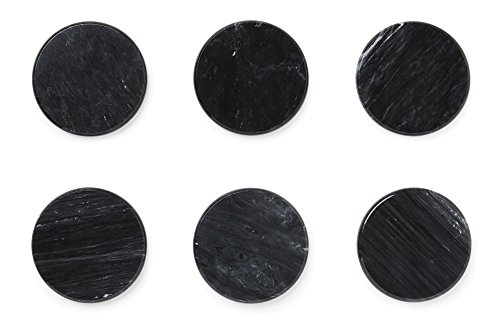 Fox Run Set of 6 100% Natural Marble Stone Coasters, Black by Fox Run