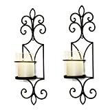 Adeco HD0031 Decorative Iron Vertical Wall Hanging Pillar Candle Holder, Traditional (Set of...