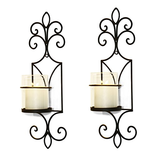 Adeco HD0019 Brown Iron Vertical Wall Hanging Candle Holder Sconce Accents, French Accents, Holds One Pillar Candle Each (Set of Two)Black with Antique Finish - Accent Wall Sconce