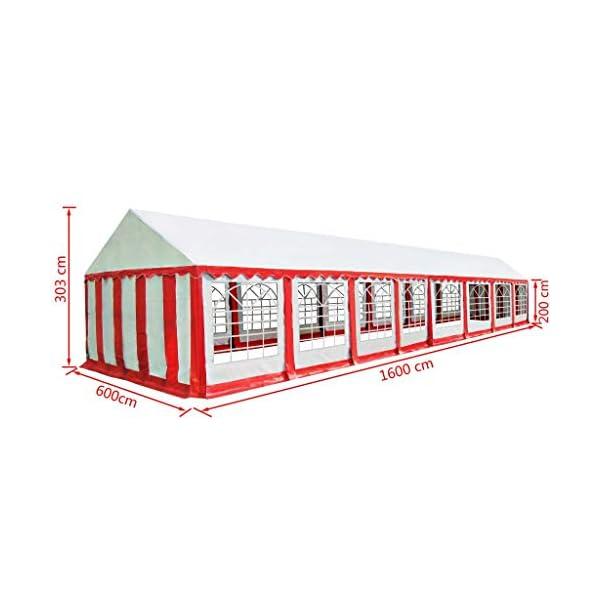 vidaXL Gazebo da Giardino in PVC 6x16 m Rosso e Bianco Tendone Parasole Riparo 6 spesavip