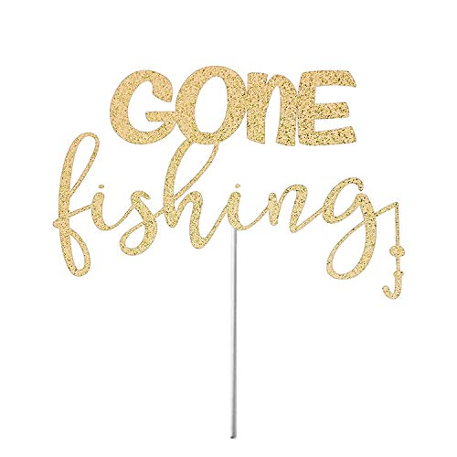 SUNsing Fishing Cake Topper Gone Fishin Cake Topper Fishing Theme Birthday Fishing Party Decor Fish Birthday Party Decor Cake Top Glitter Cardstock Topper 866918