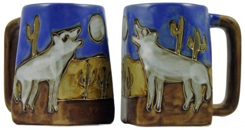 One (1) MARA STONEWARE COLLECTION - 12 Oz Coffee Cup Collectible Square Bottom Mug - Howling Wolves/Desert ()