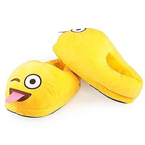 Buyeonline Unisex Adulto Divertente Caldo Morbido Soffice Peluche Emoji Pantofole Casa Coperta Carino Inverno Scarpe Antiscivolo Scarpe