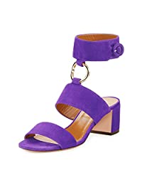 YDN Women's Open Toe Block Mid Heel Sandals Wide Ankle Strap Pumps With Metal Ring