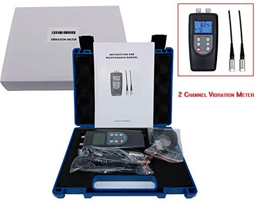 (Digital 3D Vibration Meter Double Channel Vibration Meter Digital Vibration Meter/Data Logger VM-6380-2 with Vibrometer Gauge Vibrating Gauge Acceleration 0.1~400m/s², Black)
