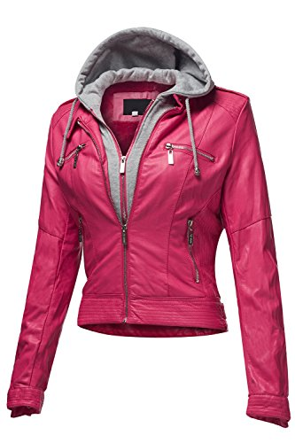 Faux Leather Moto Bomber Hoodie Jackets 003-Magenta Large