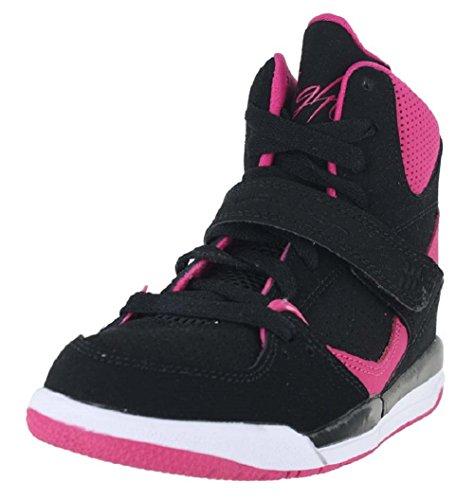 Air Jordan Kids 1 Retro High Shoes,  Black/Vivid Pink-Vivid Pink, 13 M US Little ()
