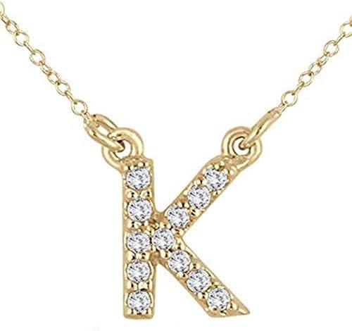 Silvercartvila 1//10 Ct D//VVS1 Diamond White Gold PlatedN Initial Pendant with 18 Chain Necklace