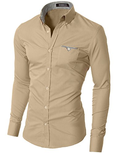 MODERNO Mens Button Down Shirts Casual Slim Fit Long Sleeve (VGD063LS) Beige US M