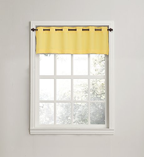 No. 918 Montego Casual Textured Grommet Kitchen Curtain Valance, 56 x 14 Inch , Yellow (Kitchen Valance Yellow compare prices)