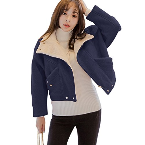 Grueso Trinchera Outwear Parka Invierno Chaquetas Chaqueta Azul Mujeres Slim Corto Abrigo YAANCUN Marino Mujeres Cálida T8Cqwnx5B