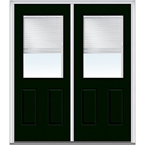 """UPC 769001099115, National Door Company Z004335R Fiberglass Smooth Hunter Green Right Hand Prehung In-Swing Double Entry Door, Clear Glass with RLB 1/2 Lite, 2-Panel, 64"""" x 80"""""""