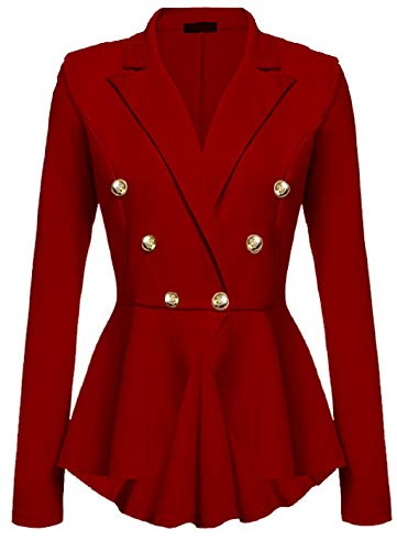 MingHaoyu Women Ringmaster Halloween Costume Cosplay Blazer Peplum Breast Jacket,XX-Large,Red]()