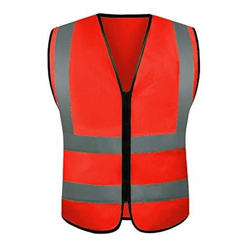 AINIYF 10 Pack,Reflective High Visibility Safety Vest, Hi Vis Silver Strip, Men & Women, Work, Cycling, Runner, Neon(Mesh, 10) (Color : Red) by AINIYF (Image #1)