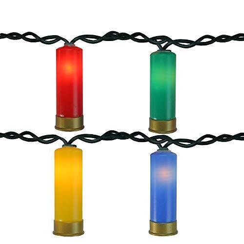 Northlight Set of 10 Multi-Color Shotgun Shell Novelty Green Wire Christmas - Shotgun Christmas Shell Lights
