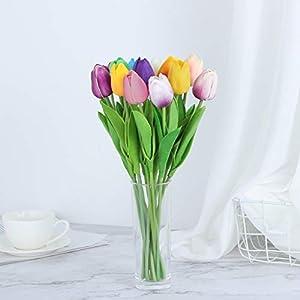 Jeash Mini Tulip Artificial Decorative Fake Flower Bouquet Home Furnishing Decor Plastic Artificial Hydrangea Bridal Bouquet for Home Garden Party Wedding Decoration 16