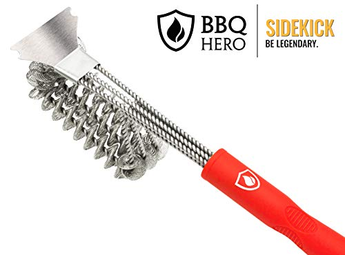 BBQ Hero Sidekick: Premium Stainless Steel Bristle Free Grill Brush | Works On Almost All Grill and Barbecue Surfaces