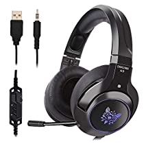 Cehensy Gaming Headset Comfortable Earmuffs Twinkling LED Lighting Headphones Adjustable Mic PS4, Xbox One, Nintendo Switch/3DS/New 3DSII, Laptop, Computer, Tablet, iPad, Phones etc