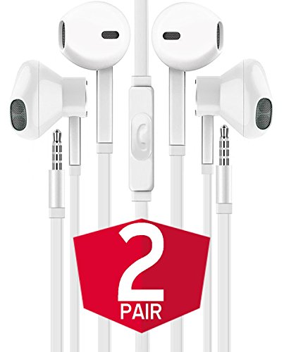 Headphones with Microphone, Certified GIZMO In-Ear 3.5mm Noise Cancelling Earphones Headset Audio Headphones for iPhone iPad Laptop Tablet Android Samsung Nexus LG HTC Smartphones (White) 2-PACK