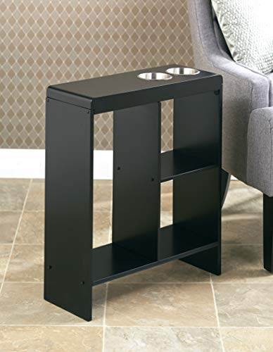 Slim End Table with Drink Holders and Built-in Shelving - Black (Slim Side Table)