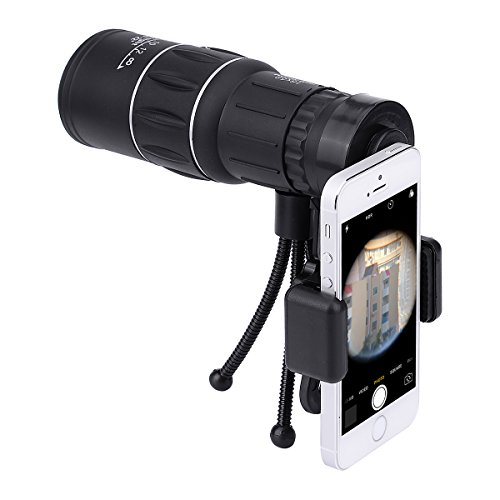 DJS Monocular Telescope 16x52 High Power Prism Scope Telescopio With Smartphone Holder Mount Adapter and Tripod for Hunting Sports Outdoors Wildlife (High Eye)