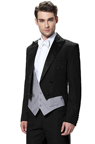 CMDC Men's Three Piece 2015 New Wedding suit Tailcoat & Tuxedo Pants D290?Black 36S) -