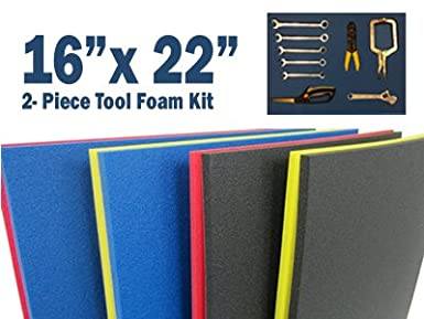 2 Color 10.75 x 18.125, Blue Top//Red Bottom FITS Craftsman Model# 112225 TOP Box 5S Tool Box Shadow Foam Organizers