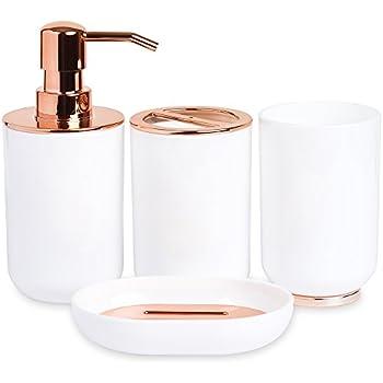 blue donuts bathroom accessories set toothbrush holder soap dispenser rose gold. Black Bedroom Furniture Sets. Home Design Ideas