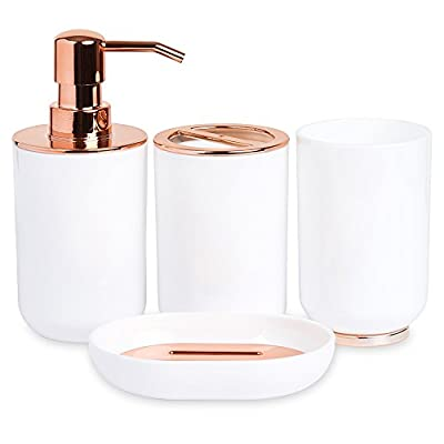 Blue Donuts Bathroom Accessories Set, Toothbrush Holder, Soap Dispenser, Rose Gold and White, 4 Piece - HIGH QUALITY: Our Bathroom Accessories Set comes with 4 complete pieces to use in your bathroom. Each is made of strong durable materials so that they will not tarnish easily. ELEGANT DESIGN: Each piece of our Bathroom Accessories Set is created with a stylish rose gold and white design. An elegant addition to any bathroom. COMPLETE PACKAGE: The Bathroom Accessories Set provides all of your essential bathroom product holders including a toothbrush holder, soap dispenser, soap dish and cup. Everything you need in one! - bathroom-accessory-sets, bathroom-accessories, bathroom - 413Q6VXJS9L. SS400  -